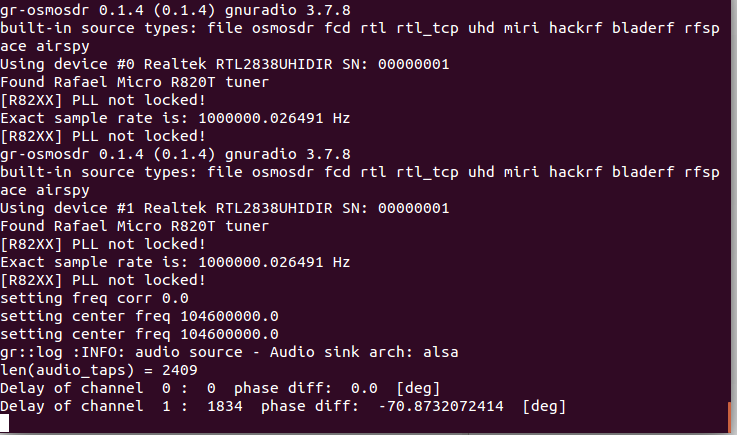 channel delay calculation in gnu radio using multi_rtl